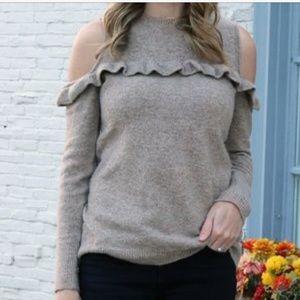 LOFT- Cold Shoulder Ruffle Sweater